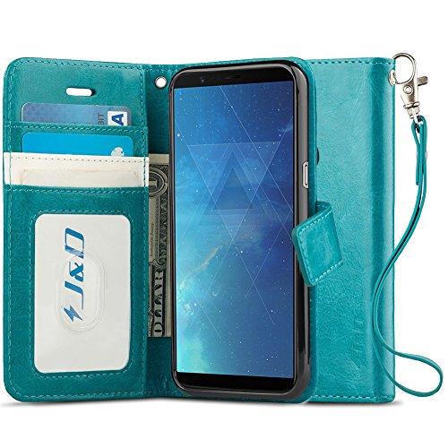 JundD Kompatibel für OnePlus 5T Leder Hülle, [Handytasche mit Standfuß] [Slim Fit] Robust Stoßfest PU Leder Flip Handyhülle Tasche Hülle für OnePlus 5T Hülle - Türkis