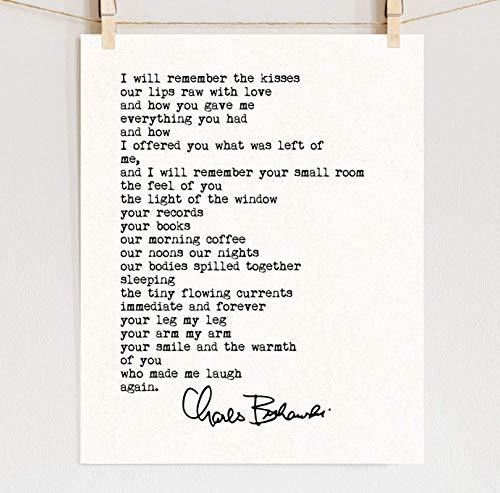 Charles Bukowski Love Quote Fine Art Print on Cotton Paper, Sizes 5x7-13x19 **Unframed**
