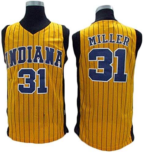GIHI Camiseta De La NBA para Hombre - Camisetas De Indiana Pacers NBA 31# Reggie Miller - Ropa De Entrenamiento De Baloncesto De Malla Bordada Retro,A,L(175~180CM/75~85KG)