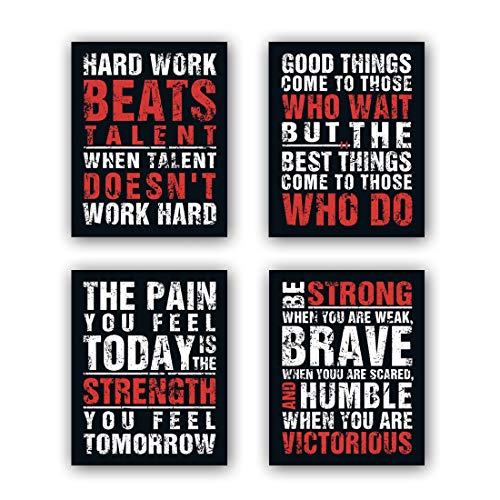"HPNIUB Inspirational Quotes Art Prints, Set of 4 (8""X10""), Chalkboard Motivational Canvas Poster, Hard Work Painting Be Strong Be Brave Wall Art for Classroom Kids Teens Bedroom Office, No Frame"
