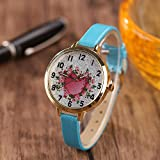 Powzz ornament Armbanduhren Romantisches Silbernes Pulver-Quarz-Rosen-Herz Geformte Frau @ Sky Blue