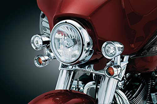 Kuryakyn 5005 Motorcycle Lighting: Fairing Mounted H3 Halogen Lamp Driving Lights with Turn Signal/Blinker Light for 1997-2019 Harley-Davidson Motorcycles, Chrome, 1 Pair