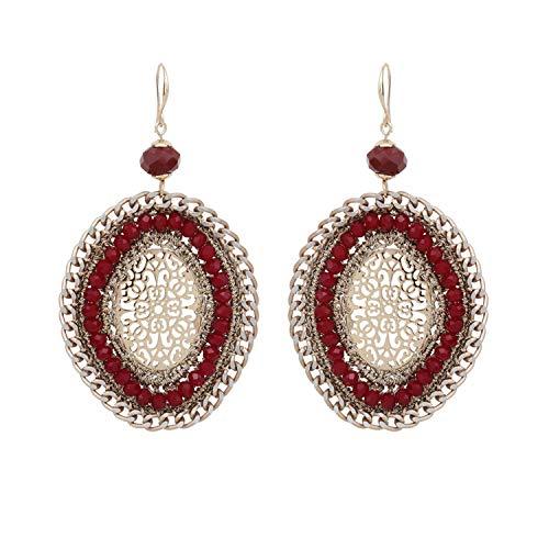 Pendientes de ganchillo de cristal para mujer, estilo retro, gran declaración, joyería para fiesta regalo para niñas Rojo