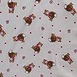 Stoff mit Teddy-Design, aus Polyester-Baumwolle, bedruckt,