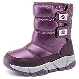 Kids Snow Boot Boys Girls Womens Winter Waterproof Outdoor Slip Resistant Warm Bootie(purple-a,8 M US Toddler)
