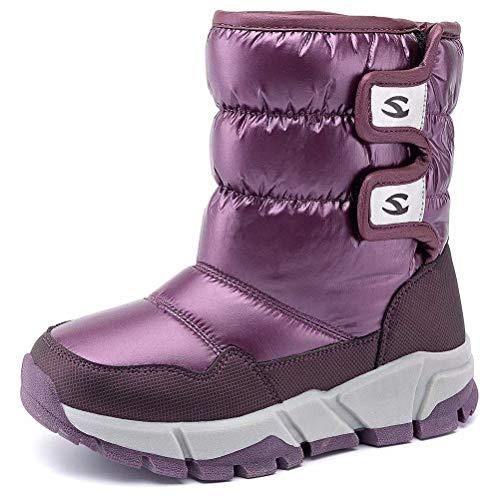 HOBIBEAR Kids Snow Boot Boys Girls Womens Winter Waterproof Outdoor Slip Resistant Warm Bootie(Purple-a,11 M US Little Kid)