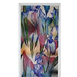 Green Leafy Flower Window Film Stained Glass Stickers Wildflower iris flower pattern in a watercolor style Full name of the plant iris Aquarelle wild flower for background texture wrap 35.4 ' x 39 ' F