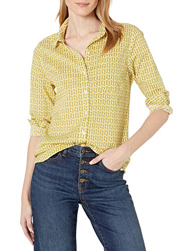 Amazon Brand - Goodthreads Women's Relaxed Fit Cotton Dobby Long-Sleeve Button-Front Tunic Shirt, Pineapple Print, XX-Large