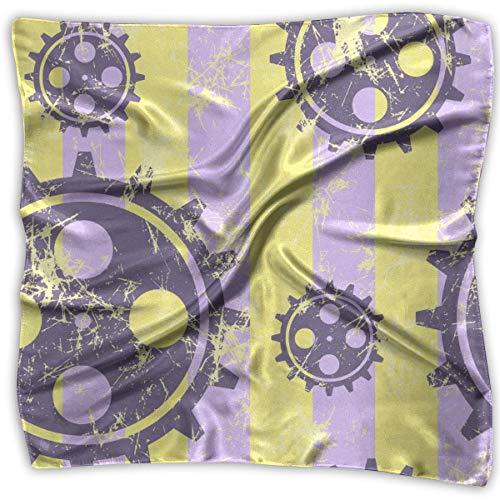 Hoklcvd Mechanism of Watch (3) Pattern Quadratischer Schal - Women's Various Design Soft Silk 100% Polyester White