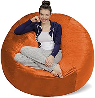 Sofa Sack - Plush Ultra Soft Bean Bags Chairs for Kids, Teens, Adults - Memory Foam Beanless Bag Chair with Microsuede Cover - Foam Filled Furniture for Dorm Room - Tangerine 5'