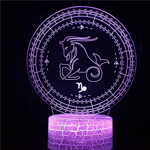 12 Sternbilder Cartoon Logo Strichmännchen Tischleuchte 3D LED Geschenk Kinder Schlafzimmer Dekoration Nachtlicht Steinbock