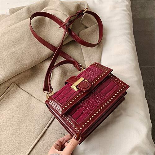 Ys-s Personalización de la Tienda Rivet PU Leather Messenger Bag Women Fashion One Shoulder Simple Bag Women Travel Bolsos y Bolsas de Las señoras Bolsas (Color : Red, Size : 20cmx16cmx7cm)