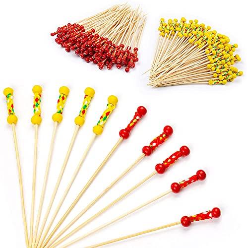 XiYee Palos de CÓCtel Palos, 200 Palillos Horquillas para Cóctel, Tenedores Desechables de Bambú, Mezclador Cóctel Bambú Frutas, San Valentín Boda Fiesta Coctelería Pinchos Boda Fiesta (B)