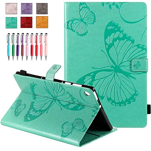 QYiD Leather Case for Galaxy Tab S4 10.5' SM-T830/T835/T837, Butterfly Embossing Design PU Leather Book Folio Smart Cover with Pen Holder for Galaxy Tab S4 10.5 inch 2018, Green