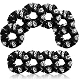 6 Pieces Volleyball Sport Hair Scrunchies Volleyball Sport Hair Ties Silk Satin Elastic Scrunchies Hair Bands Ponytail Holders for Players Teams Gifts, Black