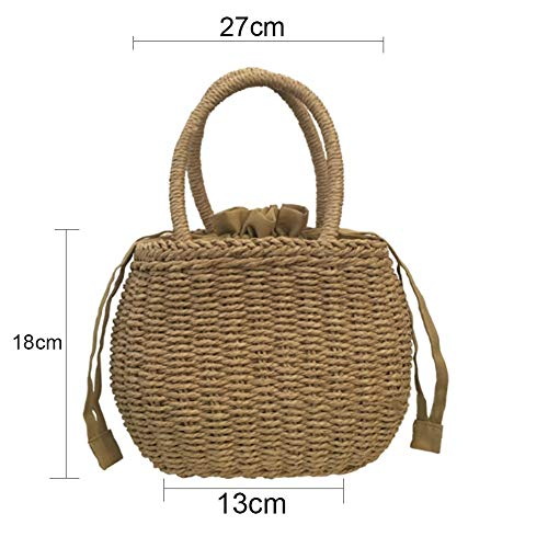 Generic Brands Picknickrucksack Hamper Picknick-Korb Rattan gesponnene Stroh Picknick-Beutel-Sommer-Strand-Basket-Sommer-Frauen Camping Griff Handtasche Drop