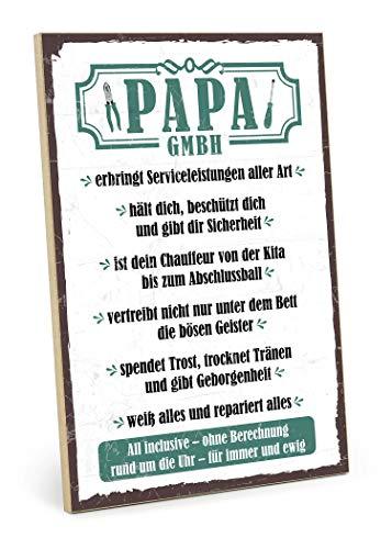 TypeStoff Holzschild mit Spruch – Papa GmbH – im Vintage-Erscheinungsbild mit Zitat als Geschenk & Dekoration zum Thema Vater, Mutter & Eltern (19,5 x 28,2 cm)