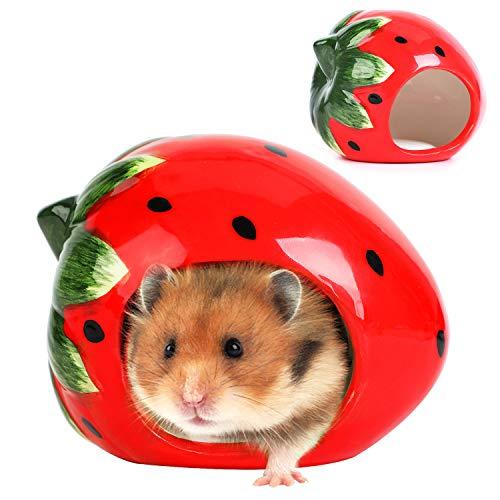 Bangcool Kleintierversteck aus Keramik für Haustiere, Erdbeer-Form Zwerg Hamster Versteck Liebenswürdig, Katzenhöhle für Chinchilla-Hamster 12 * 9 * 9cm