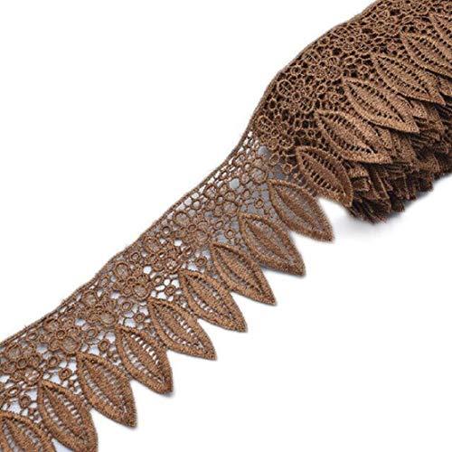 Yalulu 5 Yards 3.5 Inch Width Leaf Crochet Embroidery Lace Trim Ribbon DIY Curtain Tablecloth Clothing Decorative Applique (Deep Coffee)
