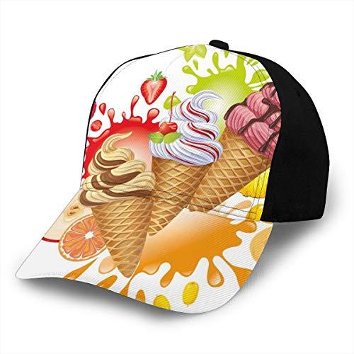 Hip Hop Sun Hat Baseball Cap,Various Flavors Tasty Summer Dessert with Peach Apricot Strawberry Sorbet Print,for Men&Women