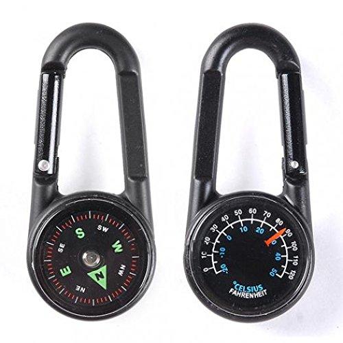 Geshiglobal Mousqueton en métal multifonctionnel de randonnée Mini boussole Thermomètre Porte-clés