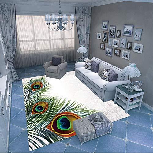 HJKGSX Alfombra De Salón Pluma de Pavo Real Alfombra Pelo Corto Antideslizante Dormitorio Cuarto de los niños Fácil de Manejar 160 x 230 cm
