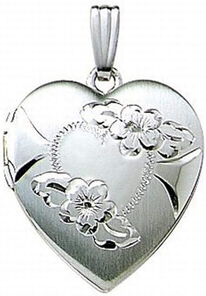 PicturesOnGold.com 14k White Gold Engraved Heart Locket - 3/4 Inch X 3/4 Inch with Engraving