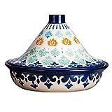 Pintado a mano Tagine marroquí Pot, 1,5 cuartos olla de cocción lenta sin plomo cocinar alimentos saludables, para diferentes estilos de cocina y ajustes de temperatura