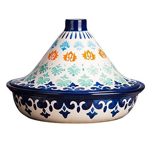 Handgemalte marokkanische Tajine Topf, 1,5 Liter Slow Cooker Ohne Blei Kochen gesunde Ernährung, für verschiedene Kochstile und Temperatureinstellungen
