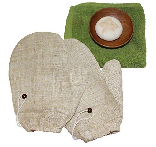 Siam Direct Gants pour Gommage de Peau en Chanvre Naturel Artisanal (Paquet de 2)