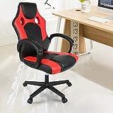 MUPAI Gaming Stuhl Bürostuhl Schreibtischstuhl mit Armlehne Gamer Stuhl Drehstuhl Höhenverstellbarer Gaming Sessel PC Stuhl Ergonomisches Chefsessel 63 x 60 x 129 cm (Schwarz + Rot)