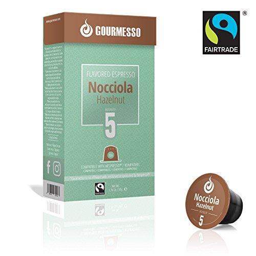 Gourmesso Nocciola - 100 capsules de café parfum noisette compatibles Nespresso ®* - Commerce équitable