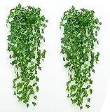 2 plantas colgantes artificiales, 1 m falso colgante planta, falso vides de hiedra para pared, casa, decoración...