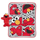 Jay Franco Sesame Street Hip Elmo 12 inch Character Pillow and Throw Blanket Set - Measures 40 inch x 50 inches - Kids Super Soft Character Pillow Set (Official Sesame Street Product)