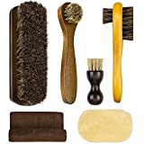 SelfTek 4Pack Shoe Brush Set Horsehair Bristles Brushes with Polish Glove and Buffing Cloth Shoe Polishing Shine Applicators for Leather, Boot and Cloth Clean