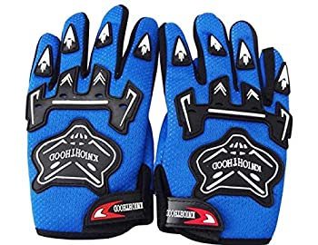 Kids Motorcycle Gloves Kids Full Finger Gloves Youth Child Motocross Dirt Bicycle Racing Cycling Gloves-Blue S