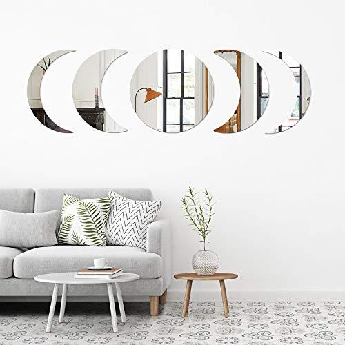 SelfTek Espejo de pared con diseño de luna y fase, 5 unidades, adhesivo decorativo para pared, decoración bohemia, para dormitorio, salón, oficina, apartamento, residencia...