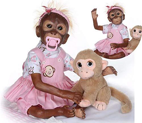 ZIYIUI Reborn AFFE Puppen Mädchen 21 Zoll 52cm Weiches Silikon Vinyl Echte Berührung Ganzkörper Realistisch Magnetisches Spielzeug Reborn Dolls