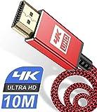 4K HDMI ケーブル 4K 60Hz ハイスピードHDMI 2.0規格HDMI Cable 4k対応 3840p/2160p UHD 3D HDR 18Gbps 高速イーサネット ARC hdmi ケーブル - 4K対応 パソコンの画面をテレビに映す Apple TV,Fire TV Stick,PS5/PS4, PCモニター,Nintendo Switchなど適用 Stick,PS5/PS4/PS3, PCモニター,Nintendo Switchなど適用 (10m, レッド)