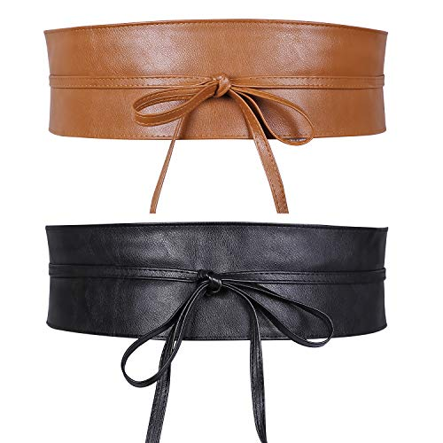 JasGood 2 Stück Damen Breiter Obi Gürtel Taillengürtel Taille Band für Damen Mädchen, Schwarz/Braun, Fit Taille 63-75cm