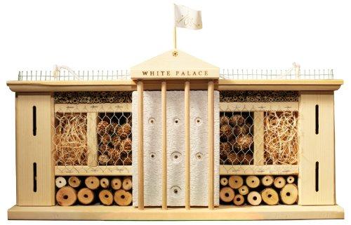 Luxus-Insektenhotels 22633e Insektenhotel Weißer Palast, fertig gebautes Insektenhaus, 58x30x12cm, Bienenhotel aus stabilem Vollholz, Marienkäferhaus/Schmetterlingshaus XXL