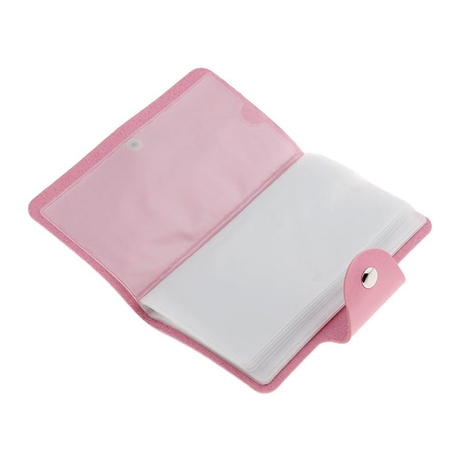 Perfeclan ネイルアートプレートスタンパーバッグ 24スロット ネイル プレート ホルダー ケース 5色選べ - ピンク