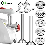 Meat Grinder Attachment with Sausage Stuffer Kit, 5 Pieces Meat Grinder Plates, 2 Pieces Food Meat Grinder Blade, 2 Pieces Sausage Stuffer Tubes with Sausage Stuffer Ring for Home Use