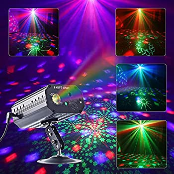 Party Lights RGB 3 Lens DJ Disco Stage Laser Light Sound Activated Led Projector for Christmas Halloween Decorations Gift Birthday Wedding Karaoke KTV Bar  Background Version