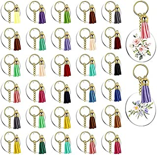 bobotron 128Pcs Acrylic Keychain Blanks Clear Circle Discs Key Chain 2 Inch Tassel Pendant Keyring for DIY Projects and Cr...