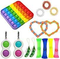14pcs Sensory Fidget Toys,Simple Dimple with Keychain,Silicone Flip Sensory Dimple Toy,Keychain Featuring Easily...