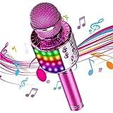 DY_Jin Micrófono inalámbrico de Karaoke Bluetooth 4 en 1 con Luces LED, portátil de Mano para niños, Reproductor KTV doméstico con función de grabación (Pink)