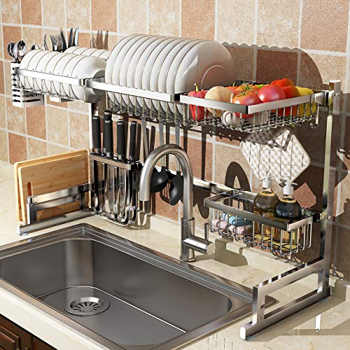 Over Sink(24'-40') Dish Drying Rack, Adjustable Drainer Shelf Utensil Holder for Kitchen Supplies Storage, Counter Organizer Space Save Stainless Steel Display (24≤Sink Size≤40inch, silver)