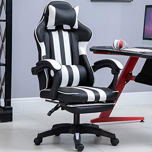Ficmax Silla ergonómica para juegos Silla para computadora con masaje de soporte lumbar, sillas de juego para E-sports para jugador, silla de oficina con reposapiés y para reposacabezas (negro),Blanco