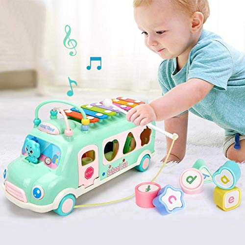 Par Jouets Éducatifs Frapper Piano Bus Multi-Fonctionnel Blocs de Construction Emballage Perle Tirer Fil Musique Jouet De Voiture Ensemble Enfants Jouet